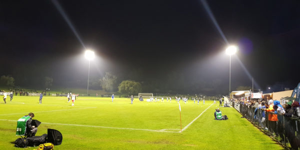 350 Lux sports lighting in use for the FFA Cup final series between Sorrento FC and Canberra Olympic.